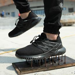 Arbeitsschuhe Männer mit Stahlkappe Sicherheit Turnschuhe Bau Sneaker pannensicher Sommer Breathable Mesh Schuhe Anti Piercing