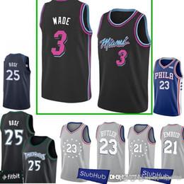 d7dfa07a3 New 3 Dwyane   Wade Heat Jersey 25 Derrick   Rose Timberwolves 23 Jimmy   Butler  21 joel 76ers embiid Jerseys discount derrick rose jersey