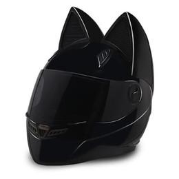 Motocicletas capacetes on-line-NTS-003 NITRINOS Marca capacete da motocicleta cara cheia com orelhas de gato Personalidade Capacete Do Gato Moda Capacete de Moto tamanho M / L / XL / XXL