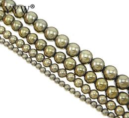 Pyrit gold online-Top Qualität 2/3/4/6/8/10 / 12mm Runde Golden Pyrit Perlen Für Schmuck Machen Glatt Natürlichen Edelstein Steinkugelkorn Stränge 15,5 zoll
