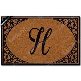 Canada Paillasson personnalisé à monogramme personnalisé votre nom et votre cadre floral initial tapis antidérapant tapis de porte de bienvenue intérieur extérieur cheap entrance door mats Offre