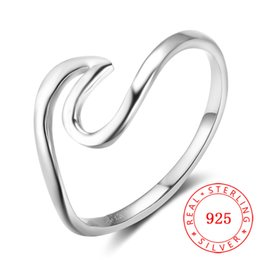 fashion finger rings for girls Promo Codes - 100% Sterling Silver 925 Irregular Finger Rings Jewelry for Women Hot sale fashion anchor ring for young girls