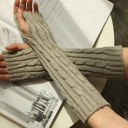 2019 Nouvelle Mode Femmes Hommes Tricot Crochet Long Fingerless Gants D'hiver Bras Chaud Mitten 8 Couleurs ? partir de fabricateur