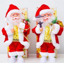 bougies de noël électriques Promotion Musique électrique Père Noël Jouets Poupée de Noël en plastique Party Poupées lampe de bougie de Noël Décorations cadeau GGA2802