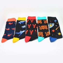 Носки для больших мужчин онлайн-PEONFLY Big Size Colorful Combed Cotton Men Socks Funny Animal Novelty Dress Socks Men Happy Harajuku For Christmas Gift
