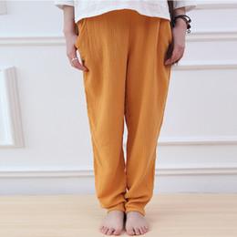 Pantalon en coton de couleur pour femme en Ligne-9 Couleur Femmes Brief Pantalon Taille Élastique 2019 Automne Nouveau Casual Coton Lin Pantalon Vintage Convient Pantalons Poches