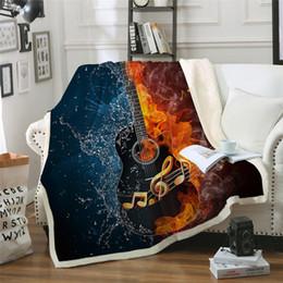 2019 fogo de guitarra Fire And Water Sherpa Blanket Guitarra baixa de pelúcia macia lançar cobertor Música Fina Quilt da Juventude 3D Impresso Cama fogo de guitarra barato