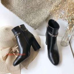 2019 botas de mujer de cuero suave diseñador Elegantes del color sólido punta estrecha señoras de cuero fino suave de tacón alto botas de cuero de lujo de la mujer de moda de calzado 09175 rebajas botas de mujer de cuero suave diseñador