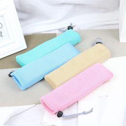 Maglia di maglia piccola online-Mesh Bundle Pocket Bacchette Spoon Small Bag Kitchen Storage Handbag Pull Rope Design Rosso Blu The New