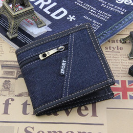 bifold wallet black Coupons - Hot Selling Mens Short Denim Fabric Wallet Best Soft Canvas Purse Bifold Fashion Ultra-thin Male Wallet Casual Money Bag