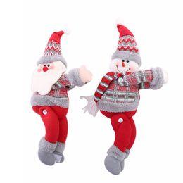2019 decorazioni natalizie di babbo natale Decorazioni natalizie Bambole natalizie Albero di Natale Tenda Tenda Fibbia Holiday Window Scene Layout Cartoon Doll Buckle RRA2037