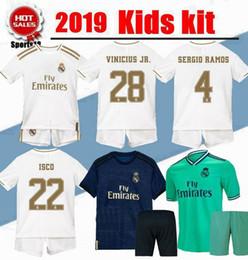 2019 Kinder Trikot Real Madrid Spanien Jugend Trikot Kind Gefahr JOVIC Sergio Ramos VINICIUS JR ASENSIO ISCO drittes Heimtrikot von Fabrikanten