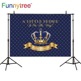 королевский фон Скидка Funnytree backdrops photophone Royal blue damask Crown golden frame baby shower  Photo background photocall wallpaper