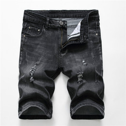 pantalones jeans hombre Promo Codes - Men's Holes Short Jeans Shorts Men Retro Denim Mens Cotton Shorts Summer Bermuda Streetwear Pantalones Cortos Hombre