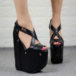19cm scarpe online-Stile americano europeo sexy discoteca scarpe da donna 19CM semplice elegante tacchi alti piattaforma focaccina sandali con zeppa super tacco alto
