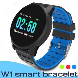 Relógios de cor pacote on-line-W1 Inteligente Pulseira Relógio Atividade Pulseira Cor LCD Inteligente Banda Esporte Para IOS Android Rastreador De Fitness Pressão Arterial Relógio de Pulso Com Pacote