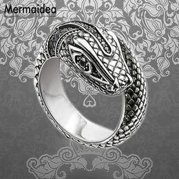 Бижутерия обручальные кольца онлайн-Black CZ Snake Wedding Bands Rings 925 Sterling Silver Fashion Jewelry Trendy Vintage Costume Gift For Women Girls 2019 New