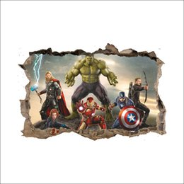 Bambini decorazione di carta da parati 3d online-3D Broken Wall Decor The Avengers Wall Stickers per bambini Camere Home Decor DIY Marvel Heroes Poster Murale Wallpaper Stickers murali