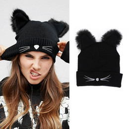 3341a353cb9 Discount funny winter hats - Funny Cat Ear Hat Men Women Winter Knit Cap  Warm Winter