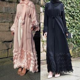 Ropa islámica abaya online-Emiratos Árabes Unidos Abaya Dubai Kaftan Islam Árabe Mujeres Larga Elegante Kimono Musulmán Vestido Hijab Turco Elbise Mubarak Ropa Islámica
