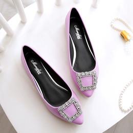 Scarpe in pelle verniciata grigia online-scarpe da donna ballerine di cristallo scivoli scivolati in pelle verniciata mocassini a punta comoda scarpe da donna di grandi dimensioni nere grigie