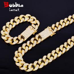 """tendência de colar de corrente Desconto Cadeia Liga Cristal pesado Miami cubano com o Colar Pulseira Set Gold Silver 20 milímetros Big Choker Homens Hip hop Jóias 16"""" 18"""""""