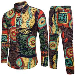 Chemises complètes occasionnels en Ligne-Nouvelle Arrivée De Mode Conception Florale Imprimer Ensemble Des Chemises Pour Hommes Avec Des Pantalons Toute La Longueur Lin Lin Coton Matériel Casual Slim Respirant 5XL