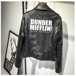 Giacca di carta online-Giacca in pelle Dunder Mifflin Stampa PU Leather Jacket Paper Company Dunder Mifflin Donne