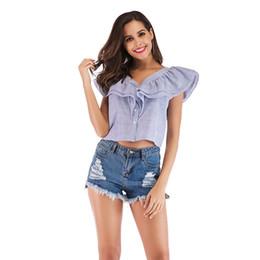 blusa de moda azul Desconto 2019 novo Chic Elegante Camisas Plissado Azul-branco Listrado Curto Blusa Mulheres Tops T-shirt Sem Mangas Verão Menina Moda Streetwear