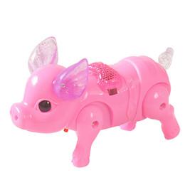 batteriebetriebene dinosaurierspielzeug Rabatt Das elektrische kriechende Schwein des roten Superspaßbabys geht nettes glühendes Jungenmädchengroßverkauf des Meng Schweins