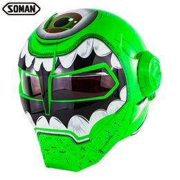 Moto casco flip up online-Casco integrale per moto personalizzato Iron Man Motor Bike Flip up Helm Skull Casco DOT Approvation SM515