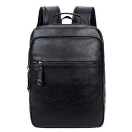 f38eb764857f7 14-Zoll-Laptop-Rucksack PU-Leder Buiness Rucksäcke Casual Schultasche  Männliche Große Kapazität