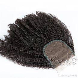 chiusura frontale completa indiana Sconti Brasiliano Afro crespo ricci capelli umani 4C Virgin 5 * 5 chiusura in pizzo da 8 a 26 pollici Texture personalizzata accettata