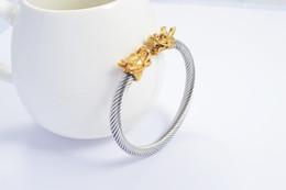 2019 brazalete de latón africano Nuevos encanto de las mujeres marca de moda brazalete de oro abierta de acero inoxidable pulsera de grifos y color par brazalete amor de la plata