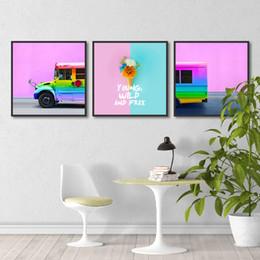 Modern Moda Sanat Gökkuşağı Araba Otobüs Nordic Peyzaj Posterler Kreş Bebek Dekor Tuval Boyama Pembe Kız Odası Duvar Sanatı Resim cheap nursery decor cars nereden kreş dekor otomobilleri tedarikçiler