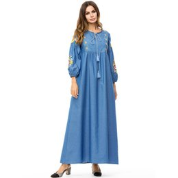aff96ebe3c Vintage Embroidery Flower Long Dress Women Plus Size 4XL Women Denim Maxi  Dress Spring Woman Long Jeans Dresses Muslim Dress