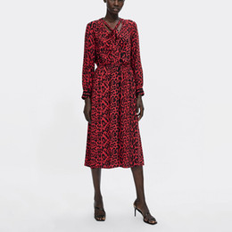 vestido de lã de lã vermelho longo Desconto 2018 Outono New Red Leopard Imprimir Vestido Longo Long Sleece Casual Dress