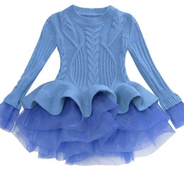 Vestido de manga larga de navidad tutu online-Bibihou Girl Winter Dress 2017 Fashion Spring Autumn Princess Girl Sweater de manga larga Tutu Dress Kid Vestidos de Navidad para niña Y190515