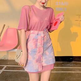 più abbigliamento donne camouflage abbigliamento Sconti Sexy due pezzi gonna Imposta Rosa Outfit Plus Size T-shirt lunga e vestiti Camouflage Gradient pannello esterno del denim estate per le donne