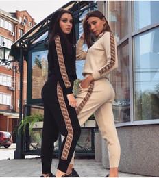 2019 mulheres vestindo uniforme de enfermeiras Mulheres Duas Peças Outfits Casuais Hoodies Treino Mulheres Manga Longa Top Colheita + Calças Com Cordão Streetwear Top Quality Sweatsuit S-XL