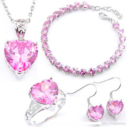 LuckyShine 925 del nastro di colore rosa del cuore zircone cristallo I monili Orecchini Pendenti Anelli braccialetto per le donne di moda sposa fidanzamento stabilisce nuovi da