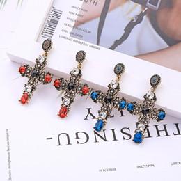 2019 серьги с голубым крестом KISS ME Religious Style  Blue&Red Crystal Glass Cross Drop Earrings For Women Gifts 2019 Newest Dangle Earrings Accessory дешево серьги с голубым крестом