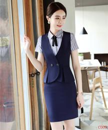 2019 saia de uniforme de escritório Senhoras Azul Marinho Colete Colete Mulheres Ternos de Negócios com Saia e Top Define Uniforme de Escritório Designs saia de uniforme de escritório barato