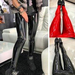 2019 leggings meilleure couleur Femmes Pantalons Pantalon Hip Haute Femme Pantalon en cuir sexy mince Skinny Pu Taille Push Up Pantalons Crayon solides Haut