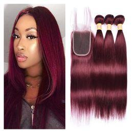 Cabello brasileño Liso 3 paquetes con cierre de encaje Rojo 99J Extensión de cabello humano Color burdeos puro Sedoso Recto de cabello virgen trama desde fabricantes