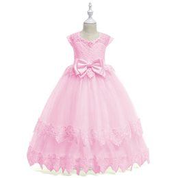 Teen brautjungfern kleider online-MQATZ Elegante Prinzessin Kleid Für Mädchen Hochzeit Spitze Lange Mädchen Kleid Party Pageant Brautjungfern Formales Kleid Für 5-14 T Teen Mädchen
