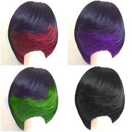 lockige grüne haarperücke Rabatt Mode kurze Bob Haircuts Mix Farbe zwei Ton Ombre schwarz grün / rot / lila 10