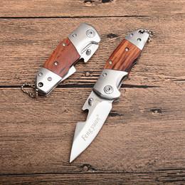 chaveiro de porta chaves Desconto Nova Fengyuan Pequena Faca Dobrável 440C Lâmina De Cetim Punho De Madeira EDC Canivetes Com Abridor de Garrafas E Chaveiro