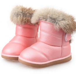 2019 scarponi da neve bianchi per bambini Stivali per bambini Stivali di gomma per bambini Inverno Bambini Addensare Peluche Snow Bambino Warm Leather Short Baby Infant scarpa bianca scarponi da neve bianchi per bambini economici