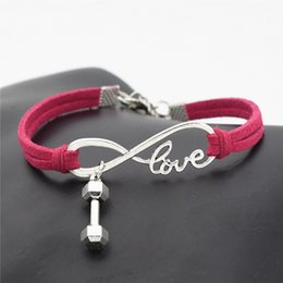 fitness christmas gifts Coupons - Hot Brand Infinity Love Barbell Dumbbell Sports Fitness Pendant Charm Bracelet Bangles Womens Mens Rose Red Leather Suede Rope Jewelry Gifts